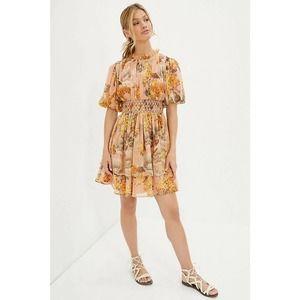 Not So Serious Amaranth Puff-Sleeved Mini Dress